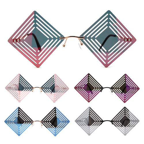 Color Mirror Hypnotist Diamond Kite Die Cut Hippie Square Sunglasses