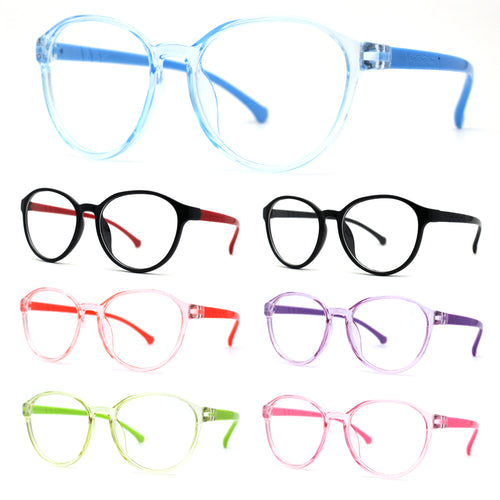 Childrens Round Plastic Horned Rim 100% Blue Light Flitering Computer Glasses