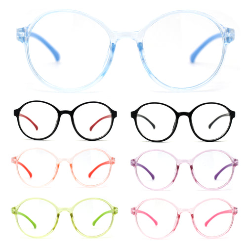 Child Size Round Thin Plastic 100% Blue Light Flitering Computer Glasses