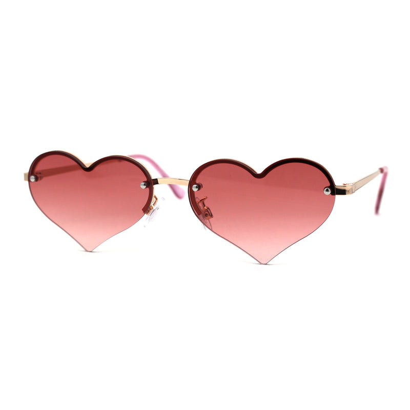 Womens Rimless Valentines Day Heart Shape Metal Rim Sunglasses
