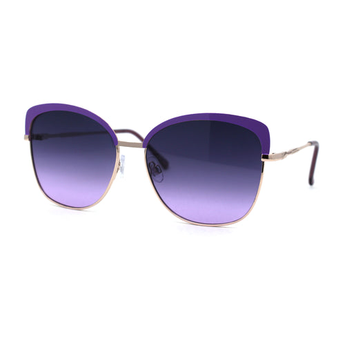 Womens Metal Rim Butterfly Half Rim Chic Sunglasses