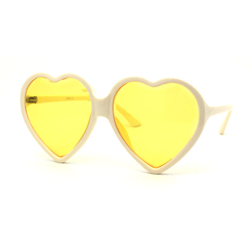 Womens Oversize Heart Shape Beveled Jewel Lens Sunglasses