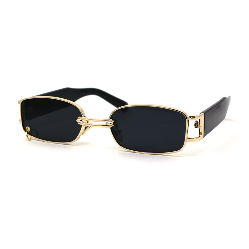 Pierced Loop Ring Rectangle Metal Rim OG Sunglasses