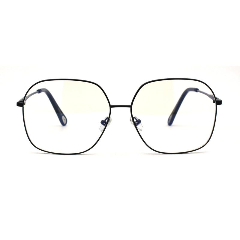 Retro Oversize School Girl Look Metal Rim Round Clear Lens Eyeglasses