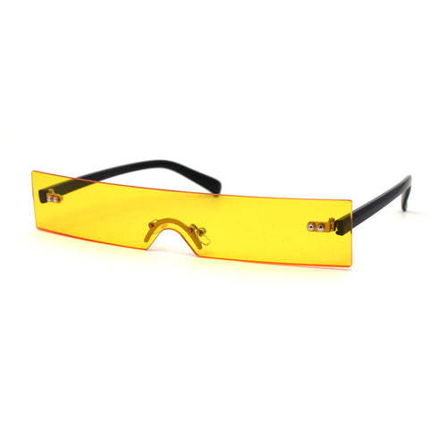 80s Funky Rimless Narrow Rectangle Cyclops Shield Sunglasses