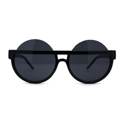 Retro Funky Cropped Plastic Exposed Lens Round Circle Lens Sunglasses