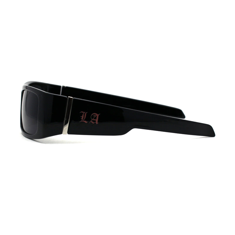 LA Monogram 90s Classic Squared Rectangular Gangster Shade Sunglasses