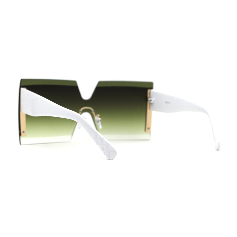 SA106 Womens Luxury Rimless Oversize Squared Shield Sunglasses