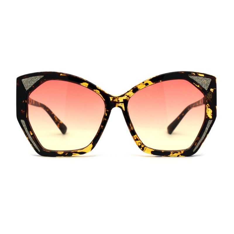 SA106 Womens Geometric Glitter Butterfly Chic Sunglasses