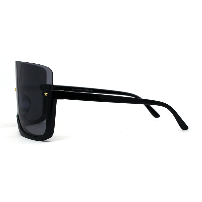 Extra Oversized Warp Curved Shield Upside Down Half Rim Sunglasses