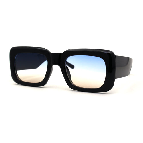 Womens Mod Retangle Thick Temple Plastic Sunglasses