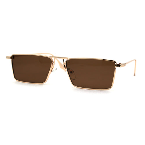 Luxurious Narrow Rectangular Metal Rim High Temple Sunglasses