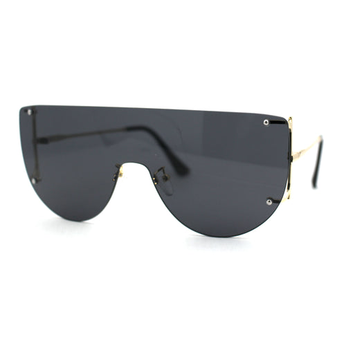 Minimalist Rimless Flat Top Mono Block Lens Premium Optical Quality Sunglasses