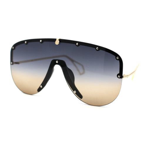 Flashy Metal Stud Brow Line Rimless Shield Racer Sunglasses