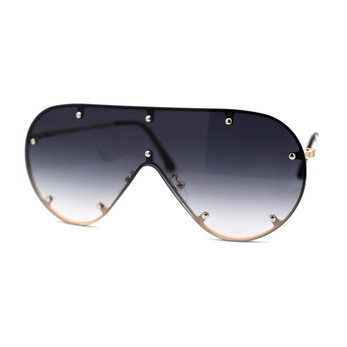 Metal Stud Brow Line Flat Top Rimless Shield Racer Sunglasses
