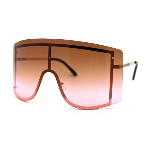 Oversize Wrap Shield Rimless 80s Funky Sunglasses