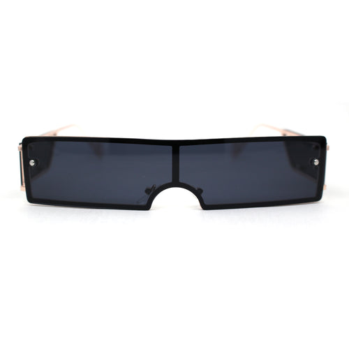 Mono Block Narrow Rectangle Cyclops Lens Metal Rim Sunglasses
