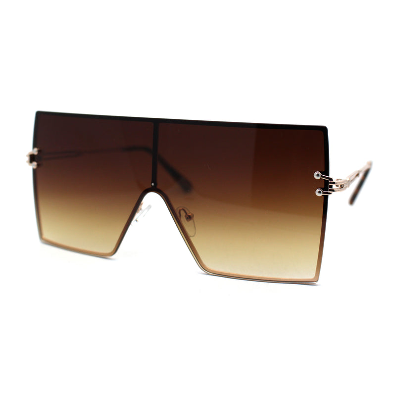 Oversize Shield Square Rimless Rectangle Flat Top Sunglasses