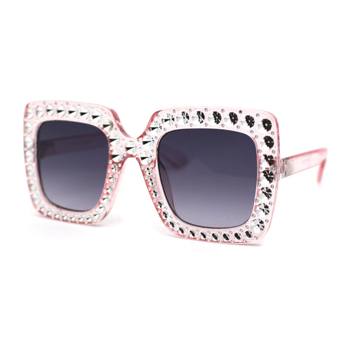 Kids Size Girls Bling Concave Engraving Iced Out Rectangular Butterfly Sunglasses