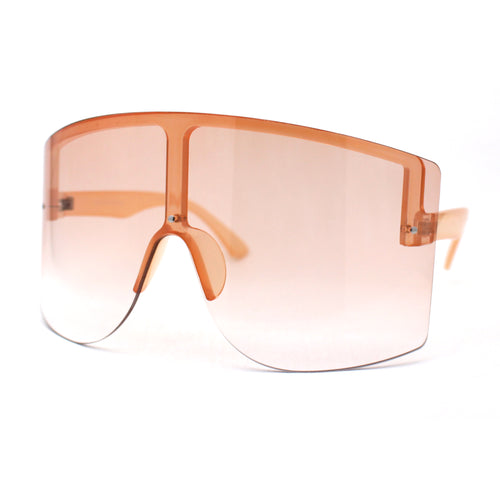 Mono Lens Rimless Oversized Shield Plastic Half Rim Sunglasses