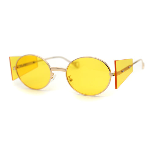 Hippie Oval Retro Side Visor Metal Rim Pop Color Lens Sunglasses