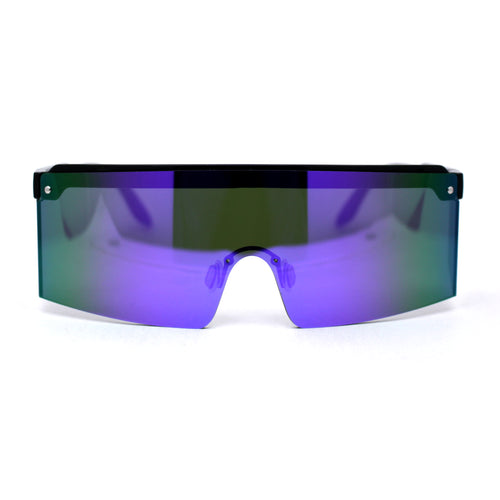 Mens Mirrored Flat Top Windbreaker Side Visor Square Shield Sunglasses