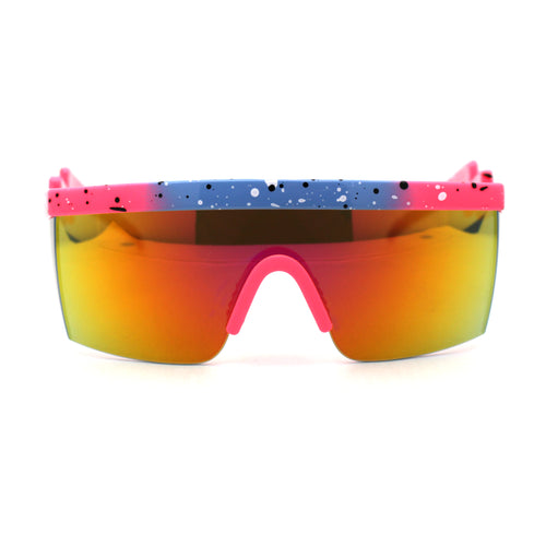 Reflective Color Mirror Lens 80s Neon Splatter Bolt Arm Half Rim Shield Sunglasses