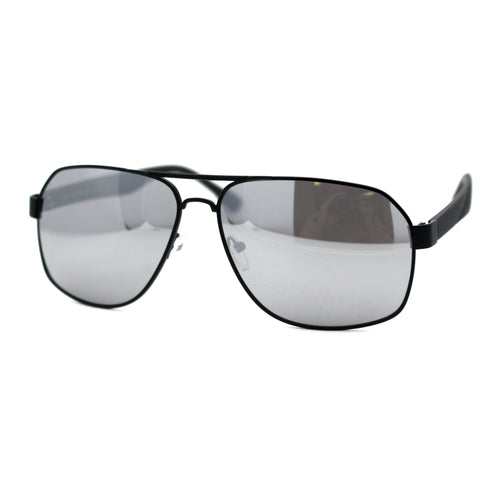 Mens Mirror Airforce Rectangle Metal Aviator Sport Plastic Arm Sunglasses Black Silver