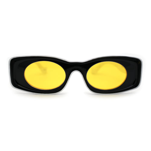 Womens Unique Concave Thick Mod Plastic Sunglasses Black Yellow