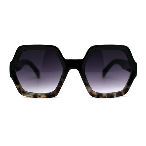 Womens Mod Hexagon Plastic Retro Sunglasses