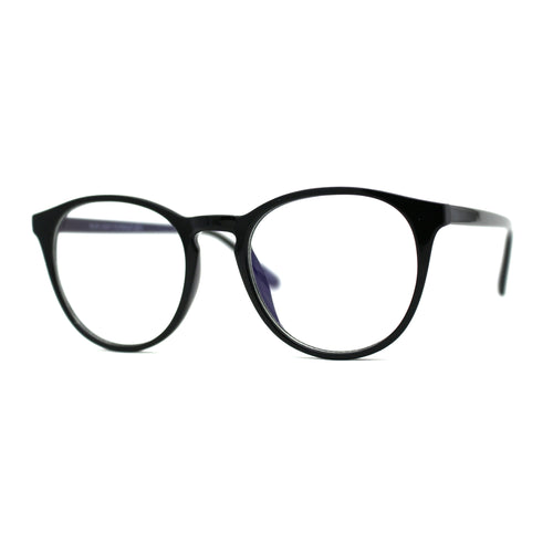 Round Keyhole Thin Plastic Horn Rim Blue Light Filtering Computer Glasses