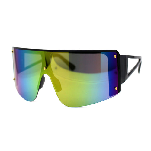 Oversize Shield Flat Top Half Rim Sunglasses Black Rainbow Mirror