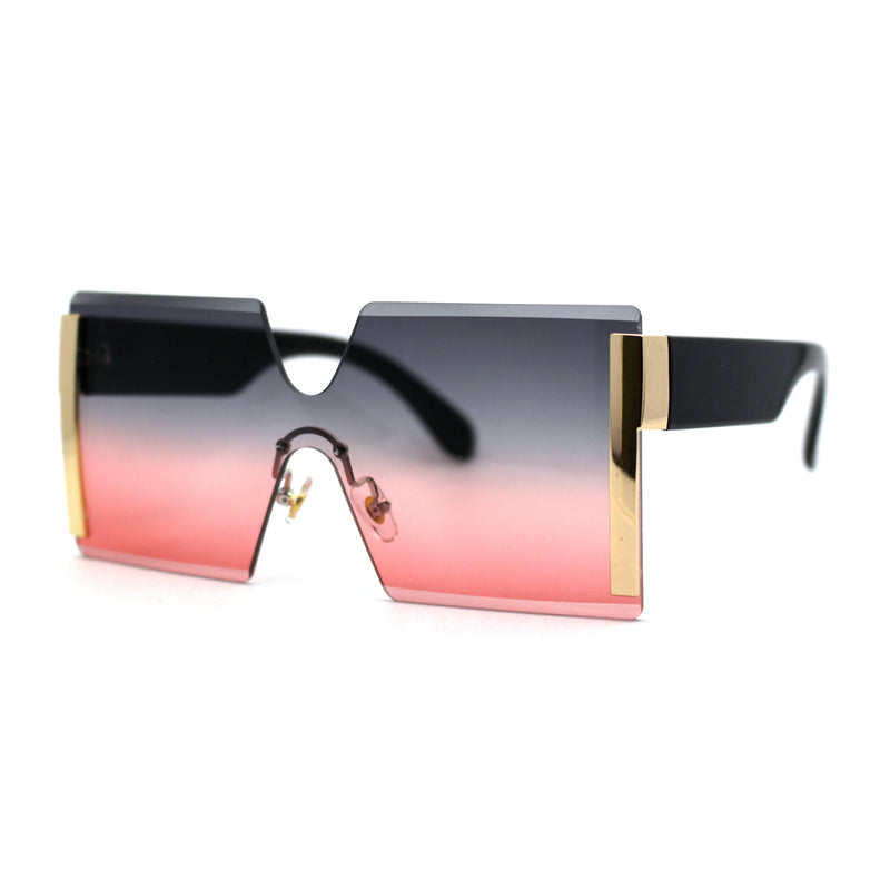 Womens Geometric Square Chucky Rimless Shield Sunglasses