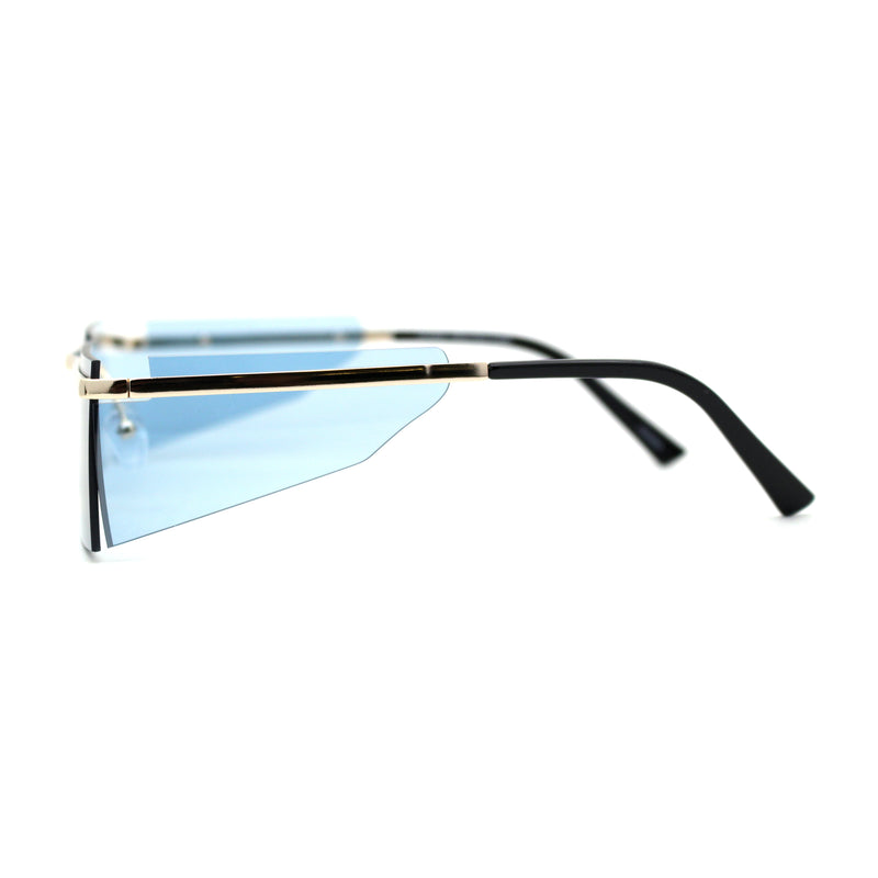 Mens Minimalist Metal Half Rim Side Visor Robotic Sunglasses