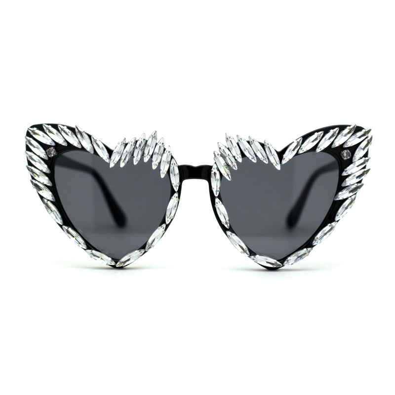 Womens Full Heavy Rhinestone Jewel Heart Shape Sunglasses