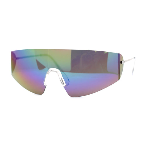 Retro Robotic Shield Rimless Sport Oversize Sunglasses