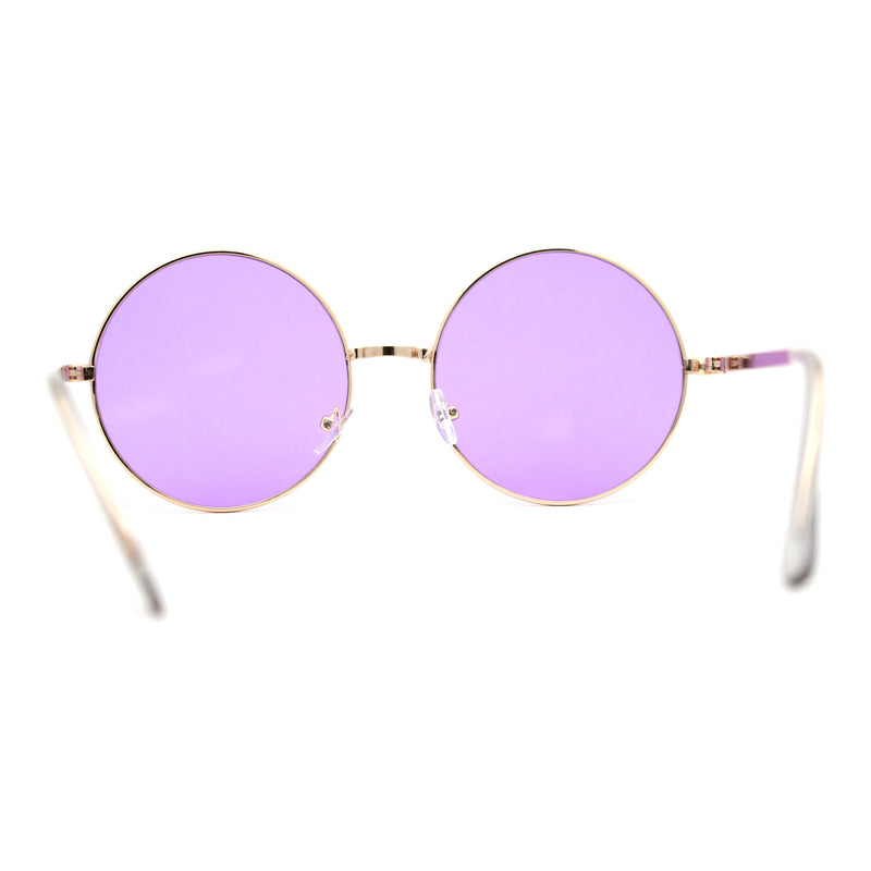 Pop Color Lens Iconic 70s Round Circle Lens Sunglasses