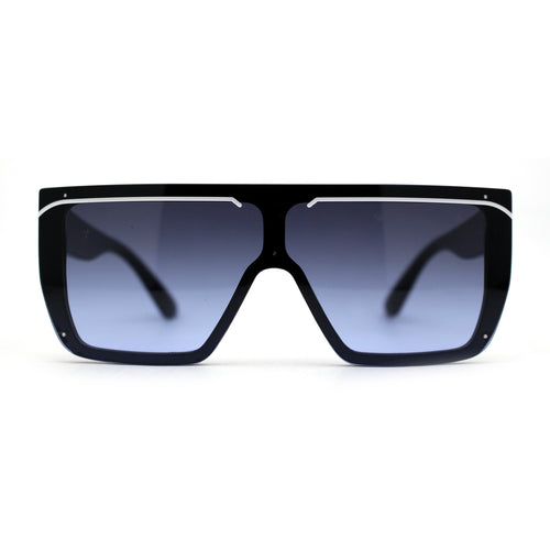 Womens Block Lens Flat Top Shield Exposed Lens Sunglasses