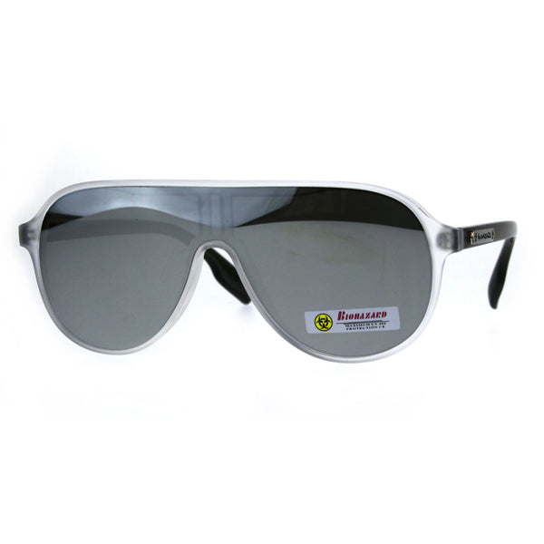 Mens Biohazard Plastic Shield Racer Color Mirror Sunglasses