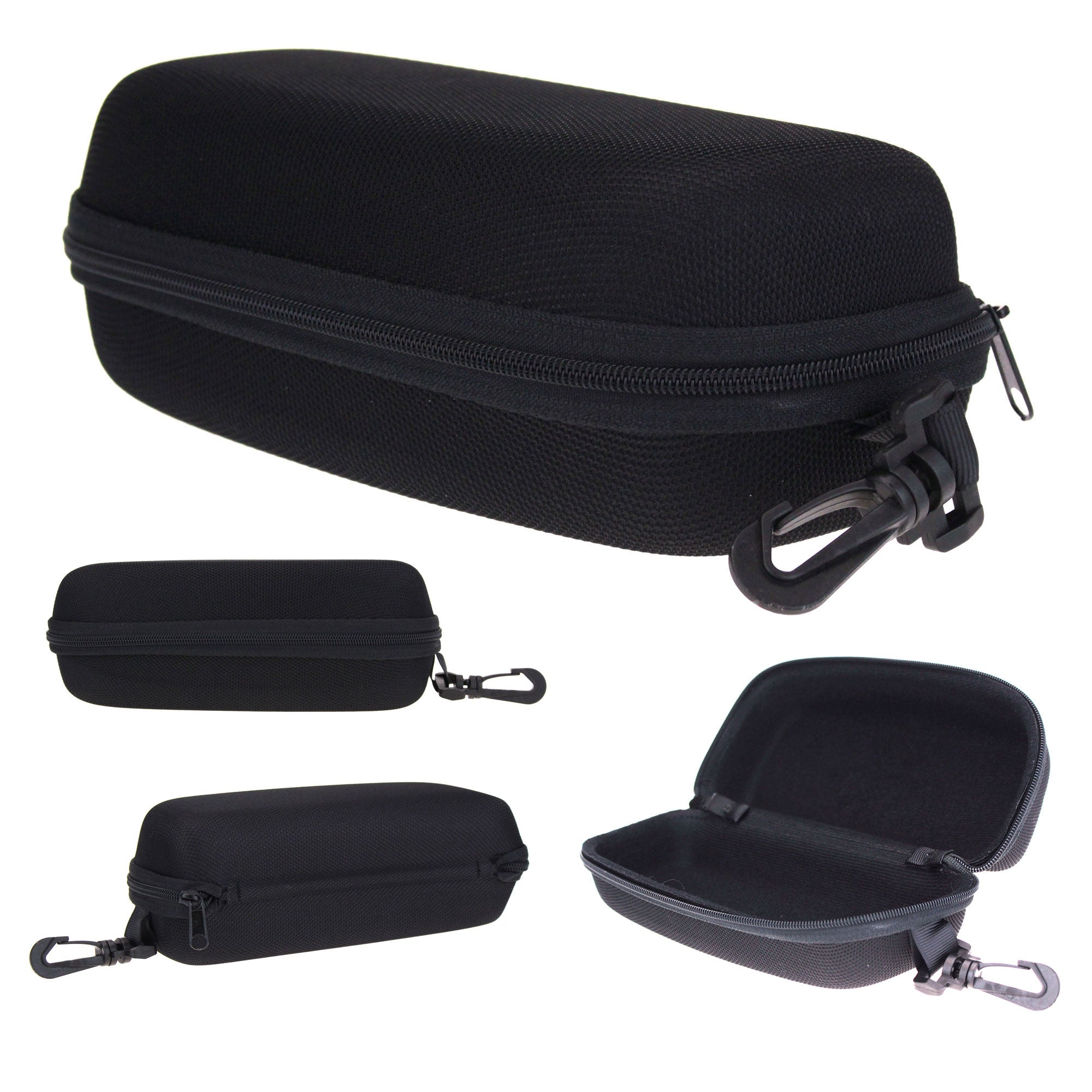 All Black Mens Rectangular Zippered Eyewear Carrying Hardcase With Clip Hook