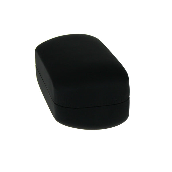 All Black Leather Pill Shape Clam Shell Eyewear Hard Case