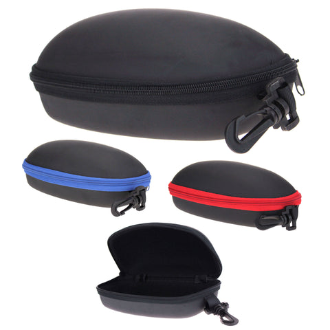 Rectangular Zippered Hard Eyewear Carrying Case With Clip Hook