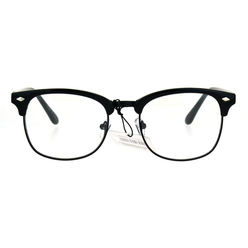 Mens Classic Horned Half Rim Hipster Nerdy Retro Eye Glasses