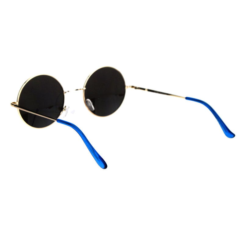Mirrored Color Hippie Groove Round Circle Lens Retro Sunglasses