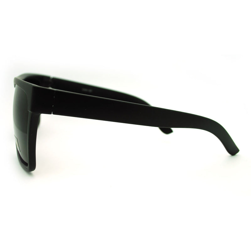 SA106® All Black Lemo Super Dark Flat Top Mob Oversized Rectangular Sunglasses