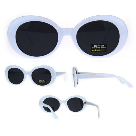 White Mod Womens Oval Round Retro Plastic Minimal Sunglasses