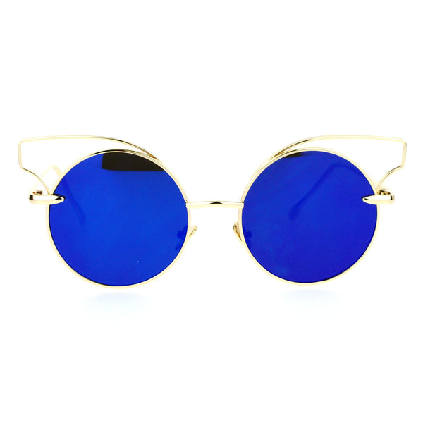 SA106 Mirror Flat Lens Metal Wire Horn Rim Cat Eye Sunglasses