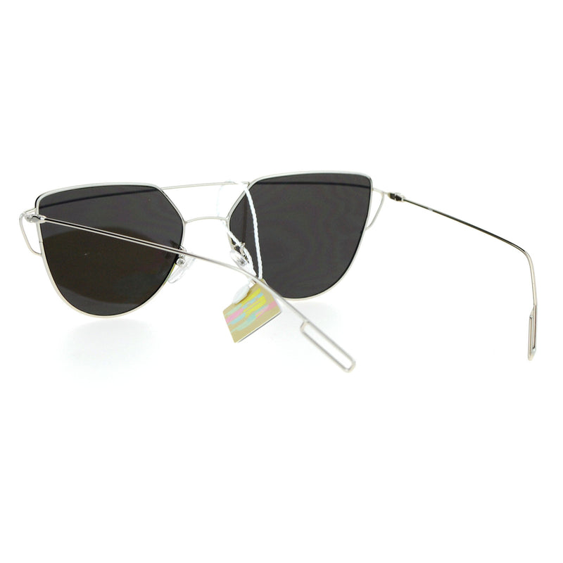 SA106 Wire Metal Flat Top Rim Futuristic Unique Horn Rim Sunglasses