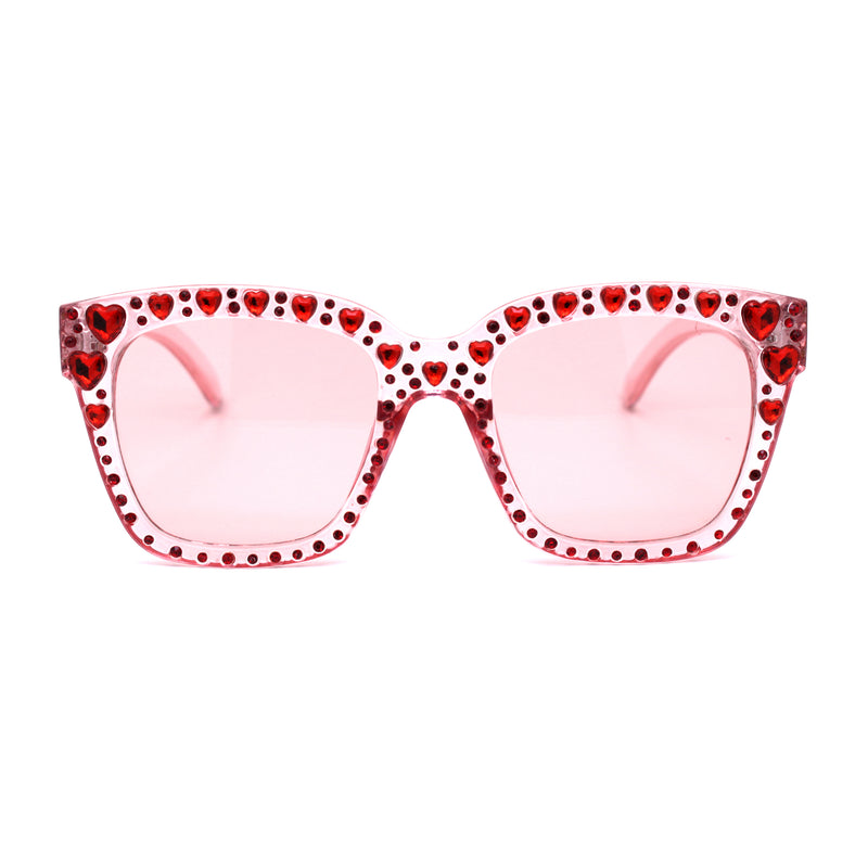 Luxury Large Heart Rhinestone Studded Horn Rim Sunglasses