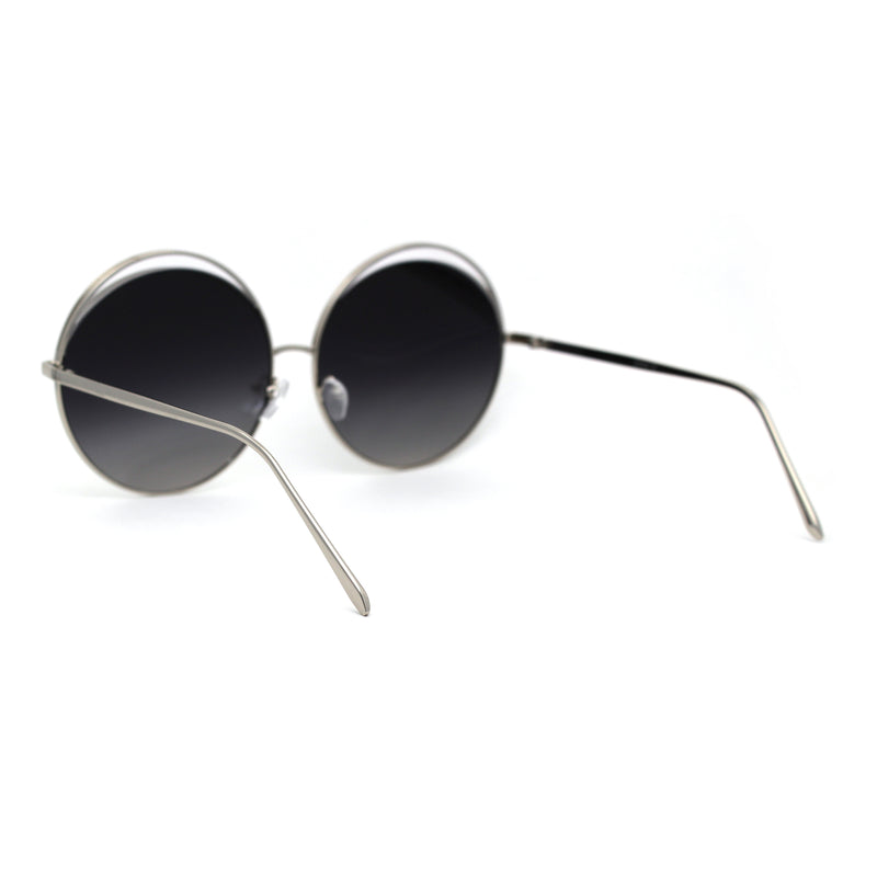 Womens Eye Lash Trim Oversize Round Circle Lens Sunglasses